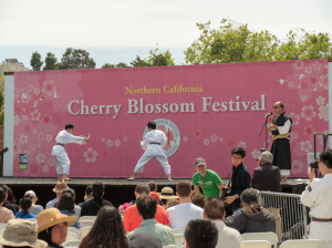 Two children spar aikido at the San Francisco Cherry Blossom Fes